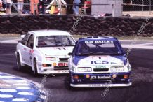 Ford Sierra RS500 Cosworth Andy Rouse  leads Robb Gravett Brands BTCC 1990